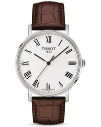 Tissot Everytime Men's Brown Leather Strap Watch - Multicolour