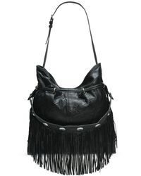 Frye Small Sacha Concho Fringe Leather Hobo Bag - Black