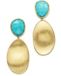Marco Bicego - 18k Yellow Gold Turquoise Two Drop Earrings - Lyst