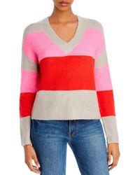 Aqua Color - Block V - Neck Sweater - Red