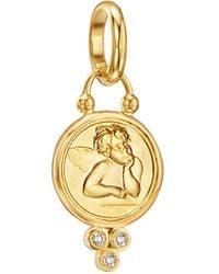 Temple St. Clair 18k Gold 10mm Angel Pendant With Diamonds - Metallic