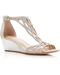 Imagine Vince Camuto Jalen Metallic Rhinestone Cutout Wedge Sandals