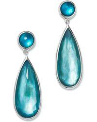 Ippolita - Sterling Silver Wonderland Mother-of-pearl & Clear Quartz Doublet Snowman Earrings In Bermuda - Lyst