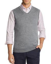 Bloomingdale's V - Neck Merino Wool Vest - Grey