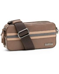 Peserico Striped Leather Crossbody - Brown