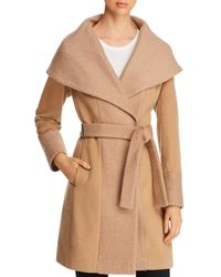 Calvin Klein Belted Wrap Coat - Natural