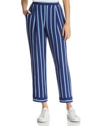 Band Of Gypsies Lauren Cropped Striped Trousers - Blue