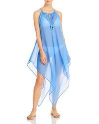 Echo Drawstring Handkerchief Dress Swim Cover - Up - Blue