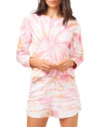1.STATE Ruched Sleeve Tie Dyed Sweatshirt - Pink