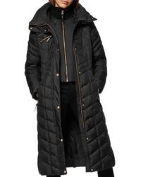 Marc New York Diamond - Quilted Lacquer Puffer Coat - Black