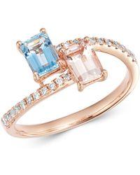 Bloomingdale's Morganite & Aquamarine Bypass Ring In 14k Rose Gold - Metallic