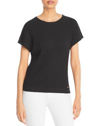 T Tahari Ribbed Short Sleeve Top - Black