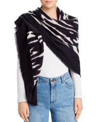 Aqua Zebra Stripe Scarf - Black