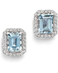 Bloomingdale's Aquamarine & Diamond Stud Earrings In 14k White Gold