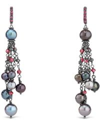 David Yurman - Bijoux Cultured Gray Freshwater Pearl Fringe Earring With Rhodolite Garnet And Hematine - Lyst