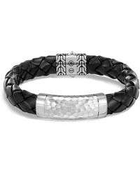 John Hardy - Sterling Silver Classic Chain Black Braided Leather Bracelet - Lyst