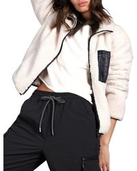 Sanctuary Sherpa Zip Up Jacket - Multicolor