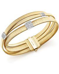 Marco Bicego - 18k Yellow Gold Masai Three Strand Crossover Diamond Bracelet - Lyst
