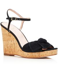 Kate Spade - Women's Janae Suede Knotted Platform Wedge Sandals - Lyst