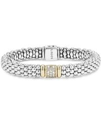Lagos Silver Caviar Bracelet With 18k Gold, 9mm - Metallic