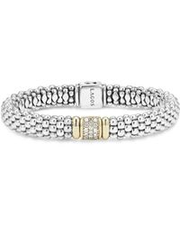 Lagos - 18k Yellow Gold And Sterling Silver Caviar Rope Bracelet With Diamonds - Lyst