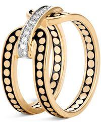 John Hardy - 18k Yellow Gold Dot Diamond Ring - Lyst