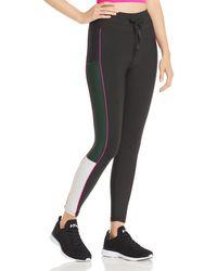 Aqua Athletic Piped Color - Block Leggings - Black