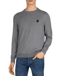 The Kooples Faux - Leather Patch Sweater - Gray