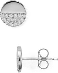 Aqua - Circle Pavé Stud Earrings - Lyst