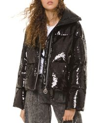 MICHAEL Michael Kors Quilted Sequin Embellished Puffer Jacket - Black
