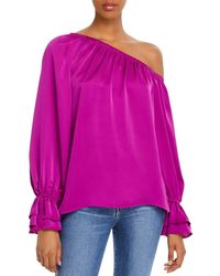 Ramy Brook Murphy Off - The - Shoulder Satin Top - Multicolour
