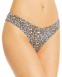 Aqua Swim Leopard Print High Leg Bikini Bottoms - Multicolour