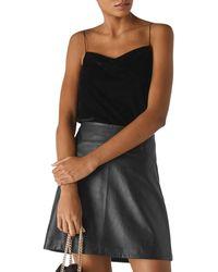 Whistles Velvet Minimal Camisole Top - Black