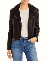 Theory Cropped Leather Moto Jacket - Black