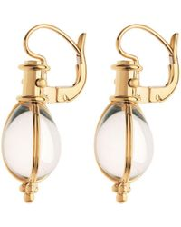 Temple St. Clair - 18k Yellow Gold Oval Crystal Amulet Earrings - Lyst