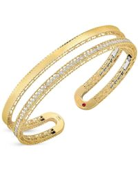 Roberto Coin 18k Yellow Gold Symphony Princess Diamond Double Cuff Bangle Bracelet - Metallic