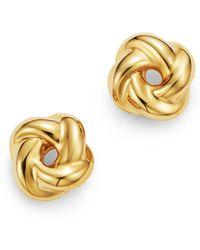 Bloomingdale's - Love Knot Stud Earrings In 14k Yellow Gold - Lyst
