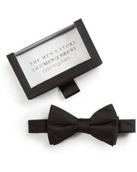 Bloomingdale's The Store At Bloomingdale's Solid Satin Pre - Tied Bow Tie - Black