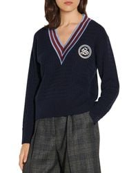 Sandro Tony Cable Knit Wool & Cashmere Jumper - Blue