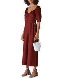 Whistles Eliza Linen Jumpsuit - Red