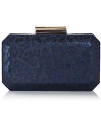 Sondra Roberts Leopard Print Box Clutch - Blue