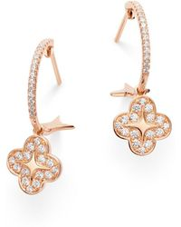 Bloomingdale's Diamond Clover Hoop Earrings In 14k Rose Gold - Multicolour