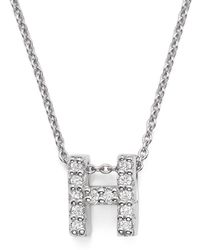 Roberto Coin - 18k White Gold Initial Love Letter Pendant Necklace With Diamonds - Lyst