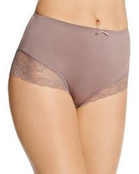 Fine Lines - Microfiber Galloon Full Figure Lace Briefs - Lyst