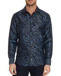 Robert Graham Nolan Silk Paisley Shirt - Blue