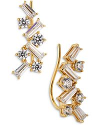Nadri Tezoro Cubic Zirconia Cluster Climber Earrings - Metallic