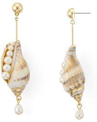 Aqua - Shell & Cultured Freshwater Pearl Drop Earrings - Lyst