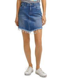 DKNY Distressed Asymmetrical Denim Skirt In Medium Blue Wash