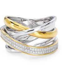 Bloomingdale's Marc & Marcella Diamond Crisscross Ring In Sterling Silver & Gold - Plated Sterling Silver - Metallic