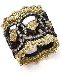 Armenta - 18k Yellow Gold And Blackened Sterling Silver Old World Champagne Diamond Scalloped Ring - Lyst